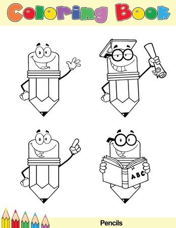 Coloring Book Page Pencil Cartoon Character 5 Vector