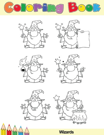 Coloring Book Page Wizard Cartoon Character Vettoriali