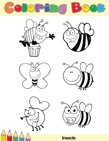 busy bees: Coloring Book Page Insect Cartoon Character