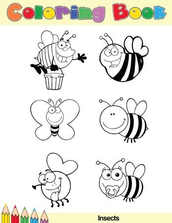 abeja reina: Coloring Book Page Insectos personaje de dibujos animados