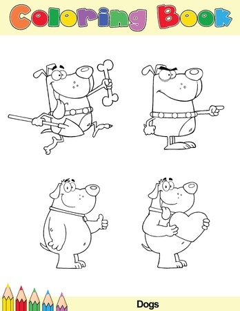 Coloring Book Page Dogs Cartoon Character 1 Vector