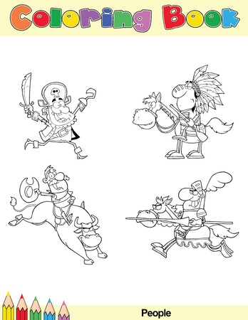 Coloring Book Page People Cartoon Character 1 Vector