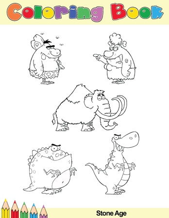 Coloring Book Page Stone Age Cartoon Characters Vector