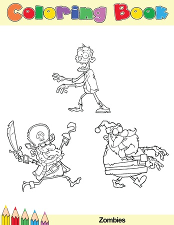 santa zombie: Coloring Book Page Zombie Cartoon Character