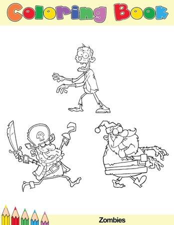 Lustiger Brauner Zombie. Seite Für Malbuch. Vektor-Illustration Auf ...