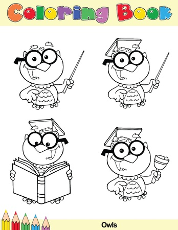 Coloring Book Page Teacher Owl Cartoon Character Vector