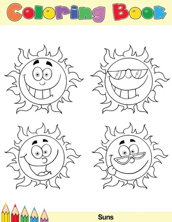 Coloring Book Page Sun Cartoon Character 1 Vector