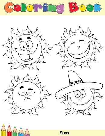 sol caricatura: Coloring Book Page Sun dibujos animados 2 Vectores