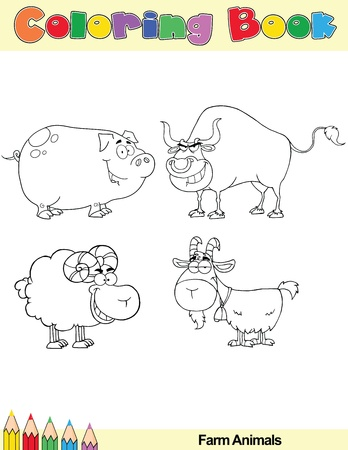 Coloring Book Page Farm Animals Cartoon Character  Vector