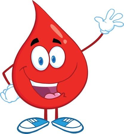 Red Blood Drop Cartoon Mascot Karakter Waving Voor Groet