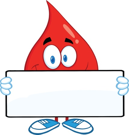 Red Blood Drop Cartoon Mascot Character Holding A Banner Vector