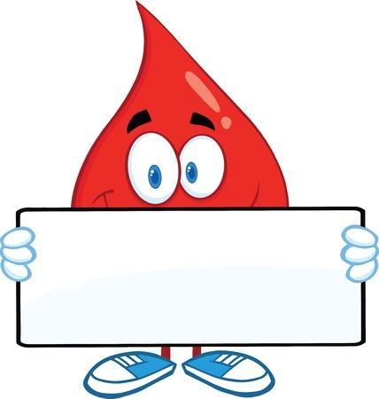 Red Blood Drop Cartoon mascotte karakter houden een banner