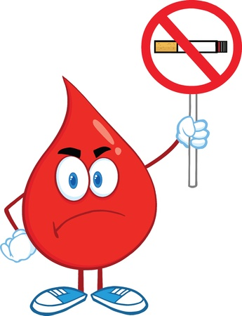 smoking stop: Angry Red Blood Drop Cartoon Character Holding up A No Smoking Sign Illustration