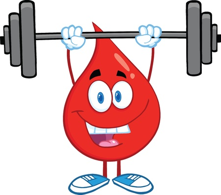 blood transfusion: Red Blood Drop Cartoon Character Lifting Weights