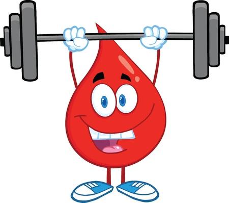 Red Blood Drop stripfiguur Tillen Gewichten Stock Illustratie