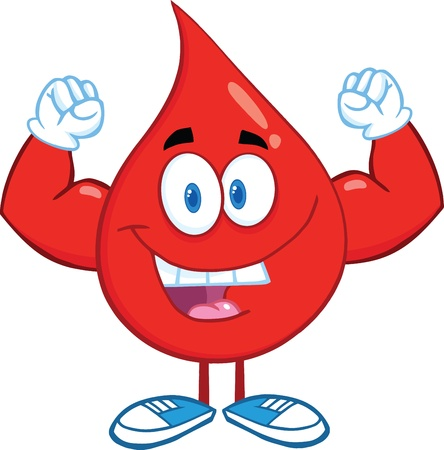 Red Blood Drop Cartoon Character Showing Muscle Arms Vector
