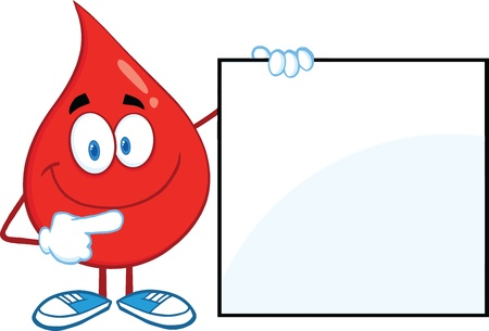 Red Blood Drop Cartoon Character Showing A Blank Sign Vector