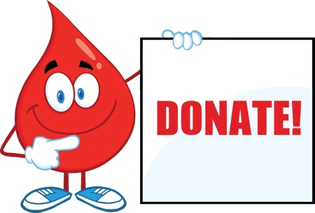 Red Blood Drop Cartoon Character Showing A Blank Sign With Text Vector