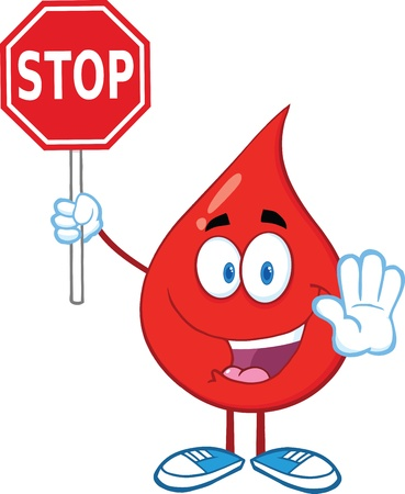 blood transfusion: Happy Red Blood Drop Character Holding A Stop Sign