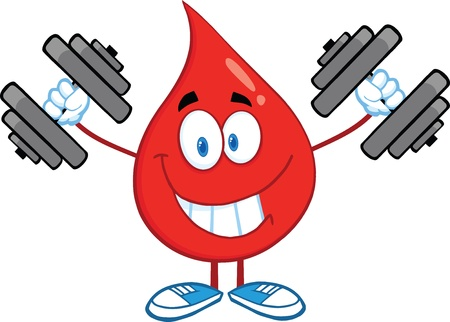 Smiling Red Blood Drop Character Training With Dumbbells Vector