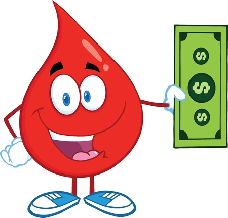 Red Blood Drop Character Showing A Dollar Bill Vector