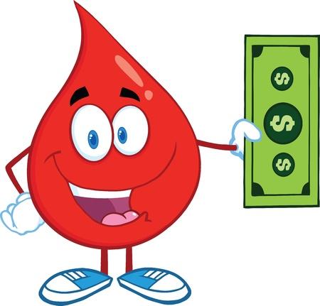 Red Blood Drop Karakter Met Een Dollar Bill Stock Illustratie