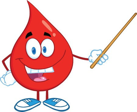 Red Blood Drop Character Holding A Pointer Vector