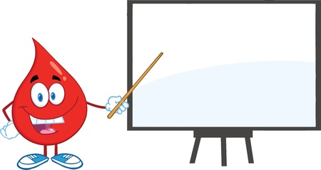 Red Blood Drop Character With Pointer Presenting On A Board