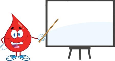 gota: Red Carácter gota de sangre con puntero presentación en una tabla de