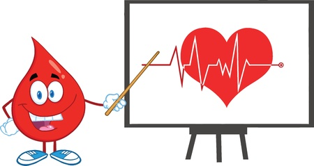 Red Blood Drop Character With Pointer Presenting Ecg Graph On Red Heart Vector