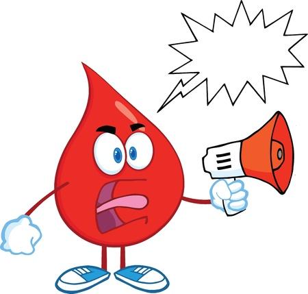 Angry Red Blood Drop Karakter Screaming in Megafoon Met Speech Bubble