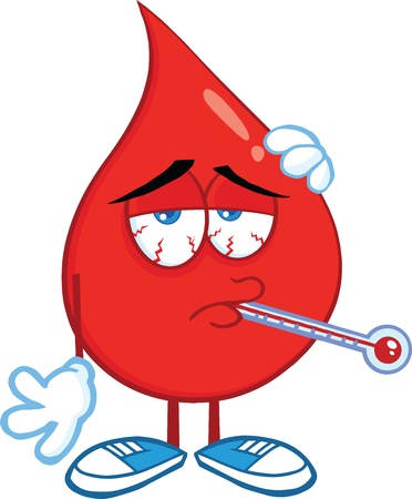 Sick Blood Drop Cartoon Character With Thermometer
