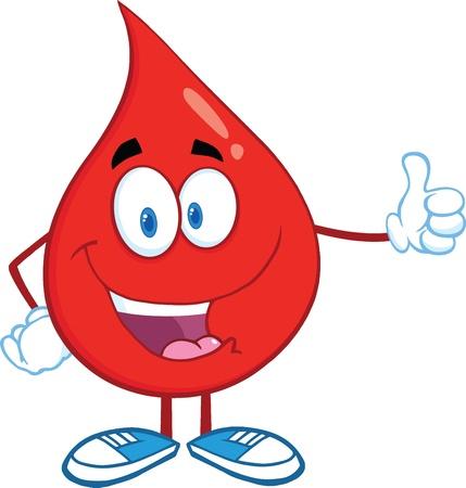Red Blood Drop Charakter geben einen Daumen Illustration
