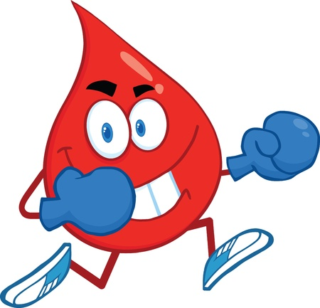 Red Blood Drop Character Running With Boxing Gloves