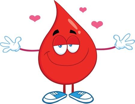 Red Blood Drop Karakter Met Open Armen Voor Knuffelen Stock Illustratie