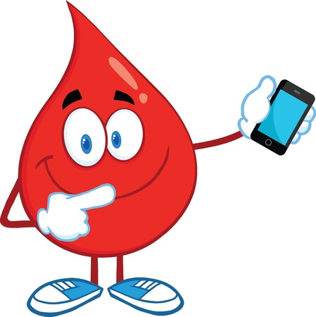 Red Blood Drop Character Pointing To A Mobile Phone Vector
