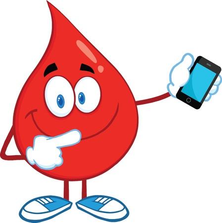 Red Blood Drop Karakter Wijzend naar een mobiele telefoon Stock Illustratie