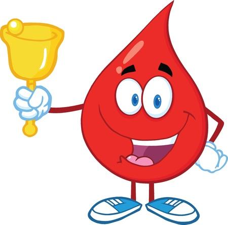 Red Blood Drop Character Waving A Bell voor donatie Stock Illustratie