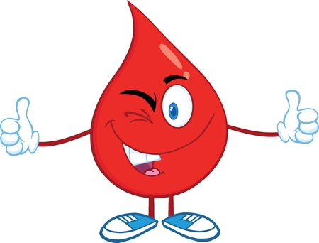 Red Blood Drop Cartoon Character A Double Thumbs Up Vector