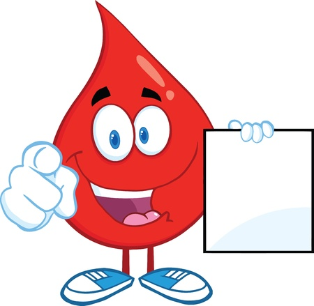 Red Blood Drop Character Zeigt Mit Finger und hält eine leere Seite