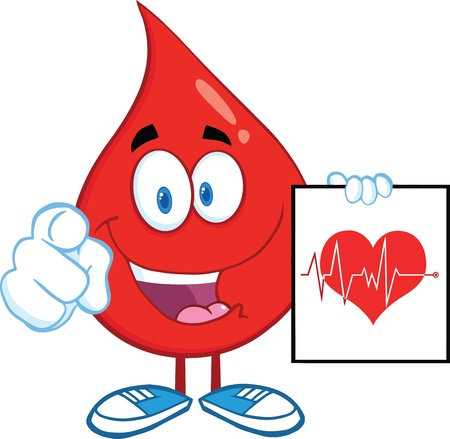 Red Blood Drop Pointing With Finger And Presenting Ecg Graph On Red Heart Vector