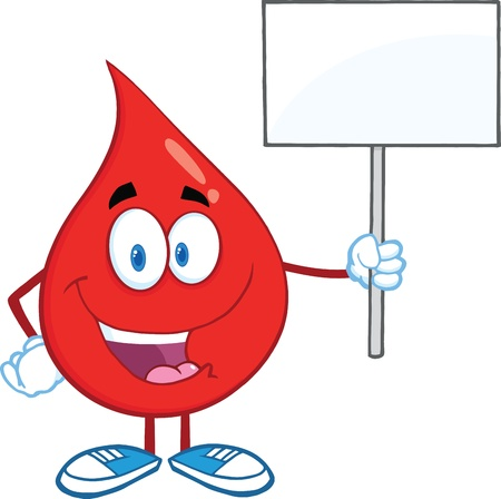 Red Blood Drop Character Holding Up A Blank Sign Vector