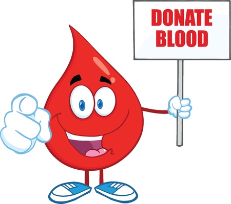 Happy Red Blood Drop Character Holding Up A Blank Sign With Text Vectores