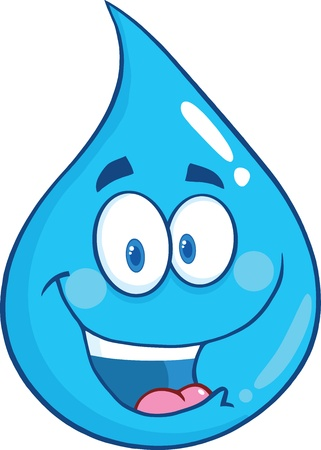 Smiling Water Drop Cartoon Character Illustration