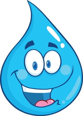 goutte de pluie: Sourire Eau personnage de dessin anim� de baisse Illustration