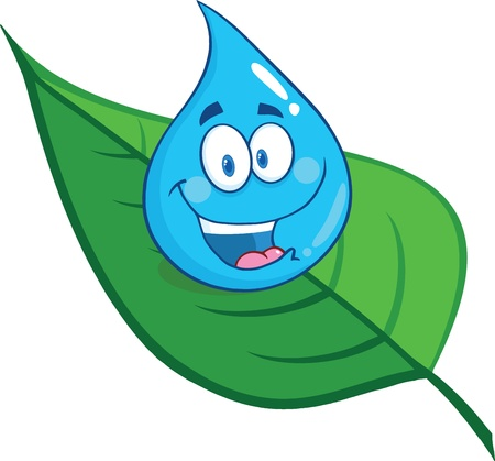Smiling Water Drop On A Leaf Illustration