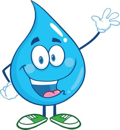 Water Drop Cartoon Mascot Character Waving Voor Groet
