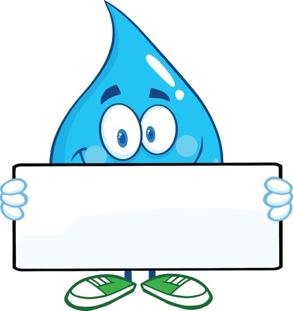 Water Drop Cartoon Mascot Character Holding A Banner Vectores