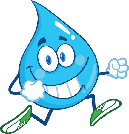смайлик: Water Drop характера талисмана шаржа Бег Иллюстрация