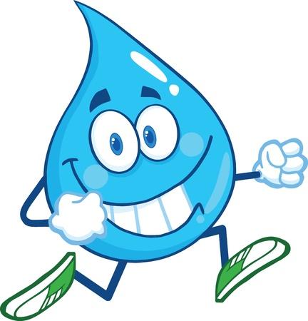 Water Drop Cartoon Mascot Character Running